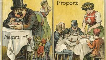 Der Majorz bringt Helvetia zum Weinen: Die erstmals 1910 verbreitete Postkarte wirbt für den Proporz.