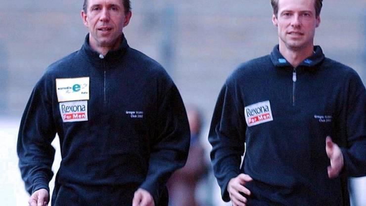 Stefan Burkart (links) trainierte unter anderen den ehemaligen Skeleton-Fahrer Gregor Stähli