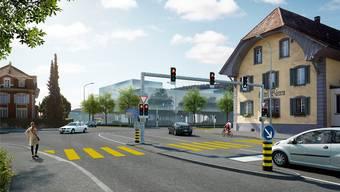 Der Knoten Bären wird auf der Tramstrasse aus Richtung Aarau von zwei auf drei Spuren ausgebaut.Visualisierung BVU