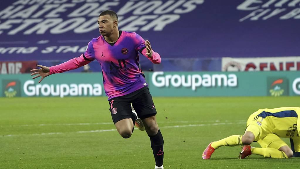 Kylian Mbappé erreichte dank zwei Toren gegen Lyon als jüngster Spieler die 100 Tore in der Ligue 1