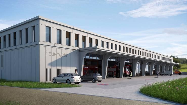 Die Visualisierung zeigt den neuen Gewerbepark. Im Erdgeschoss wird das Magazin der Feuerwehr Schenkenbergertal integriert. Diese verfügt, als erste Feuerwehr im Aargau, künftig über ein Magazin im Stockwerkeigentum.