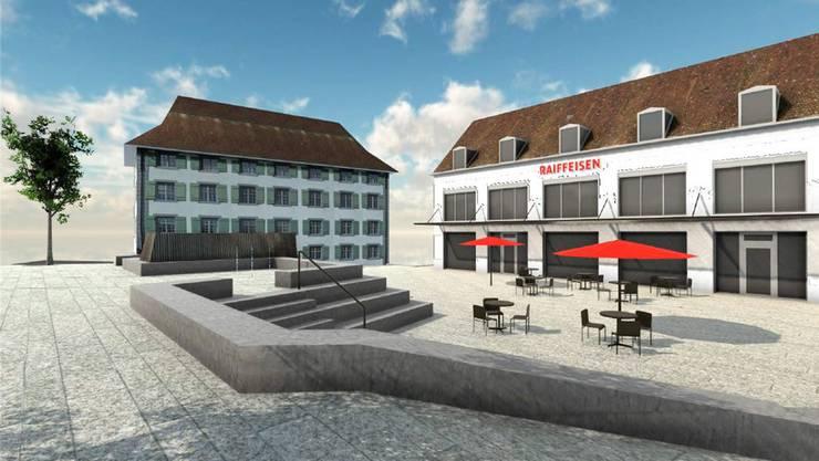Der Platz vor dem Gebäude wird multifunktional genutzt. Er dient unter anderem als Sitzplatz für den Gastronomieteil, der rechts im Gebäude untergebracht wird. zvg