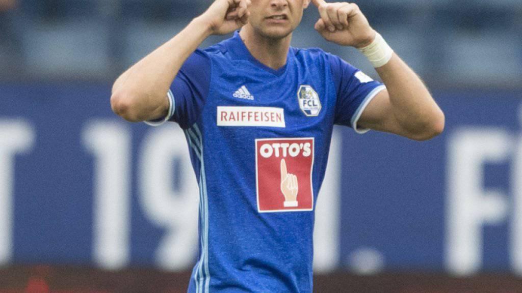 Tomi Juric feiert das 1:0 für Luzern