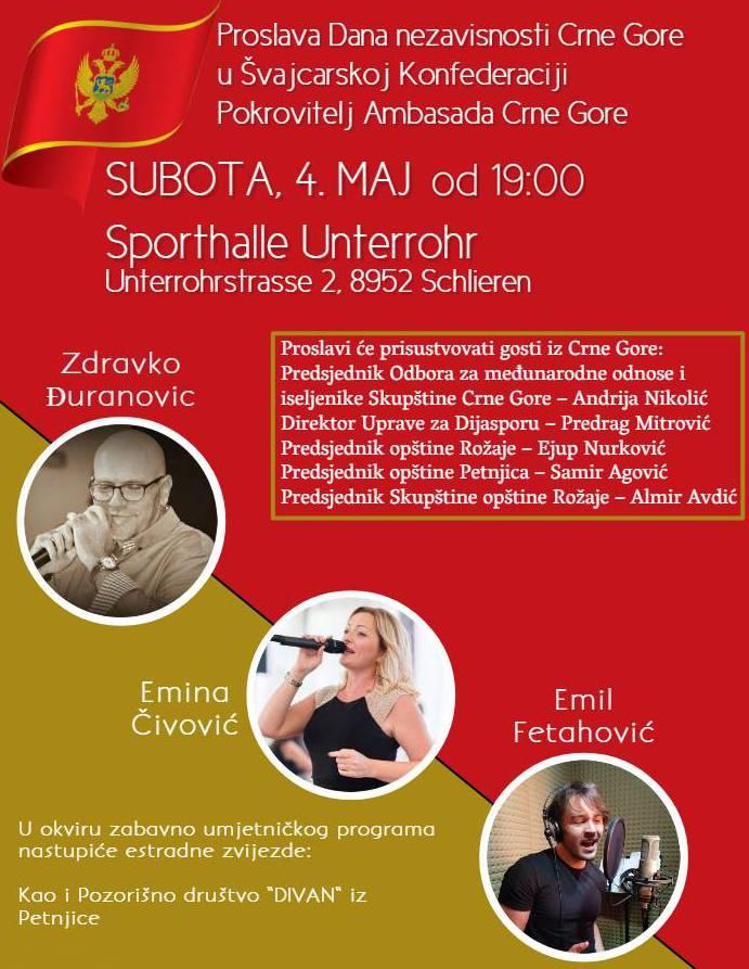 Am Samstag besuchte er ein Fest zur Unabhängigkeit von Montenegro, den Flyer hat er auf seinem Profil gepostet.