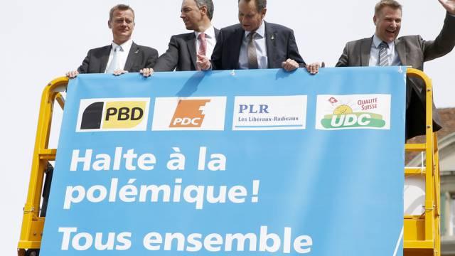 """Die Parteipräsidenten bei der """"unbewilligten Kundgebung"""" (Archiv)"""