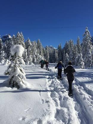Lernende der bsa auf einer geführten Schneeschuhtour in Engelberg.