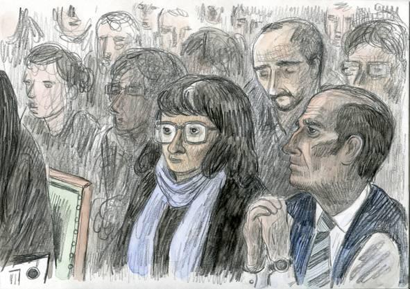 Die Zeichnung zeigt die Eltern der ermordeten Adeline.