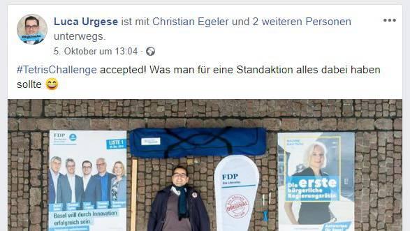 Die FDP Basel-Stadt setzt auf den Mix aus Standaktionen, Plakaten und Facebook-Werbung. (zvg / facebook)