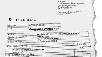 Inserat abgelehnt, Rechnung trotzdem verschickt: 1458 Franken hätte die Publikation in der «Aargauer Wirtschaft» gekostet.