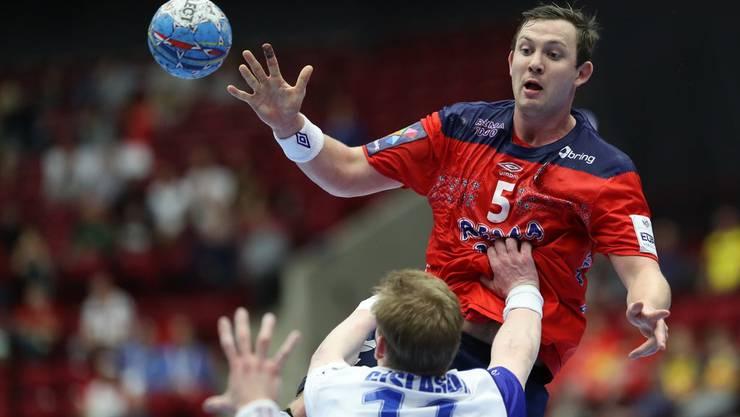 Bisher mit 51 Toren überragend: Sander Sagosen. Führt er Norwegen zum erstmaligen EM-Titel?