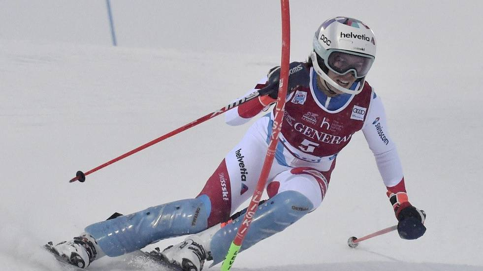 Michelle Gisin im 1. Lauf von Slalom in Levi am Sonntag, 22. November 2020.