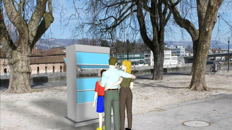 So könnte im Kreuzackerpark der «Offene Bücherschrank» dereinst in der Realität aussehen