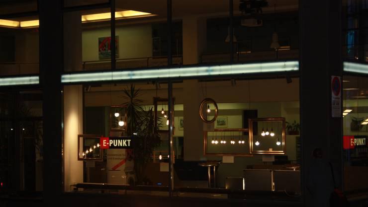 Der E-Punkt in Baden mit der LED Ausstellung.