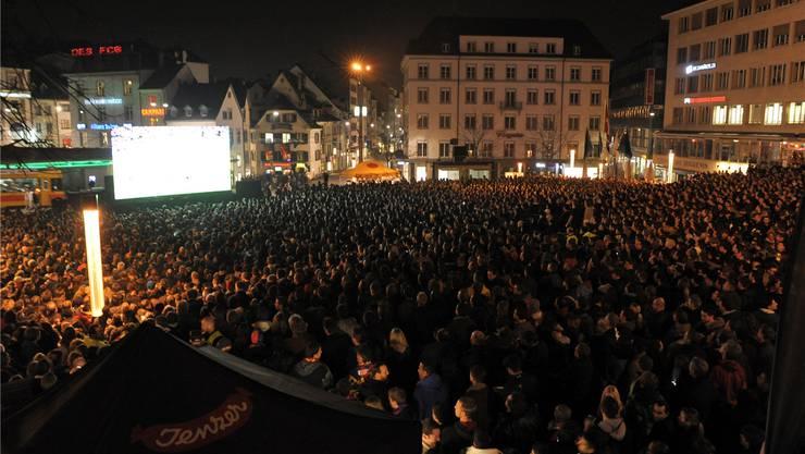 Das Public Viewing vom Spiel zwischen dem FC Basel und Bayern München von 2012 soll das Vorbild sein für nächsten Mittwoch.