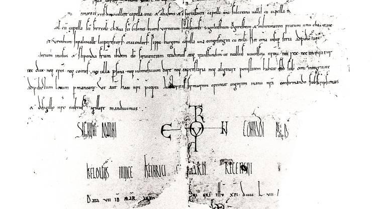 In dieser Urkunde von 968 n. Chr. wurden die vier Gemeinden erstmals erwähnt.