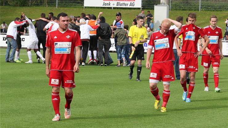 Vier Mal innert fünf Jahren scheiterte Baden in den Aufstiegsspielen, hier 2013 gegen Le Mont. Nun soll der Sprung in die Promotion League endlich klappen. Archiv/AWA