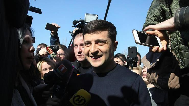 """""""Heute beginnt ein neues Leben - ohne Korruption, ohne Schmiergeld"""": Wladimir Selenski, der Favorit der Wahlen in der Ukraine, am Sonntag."""