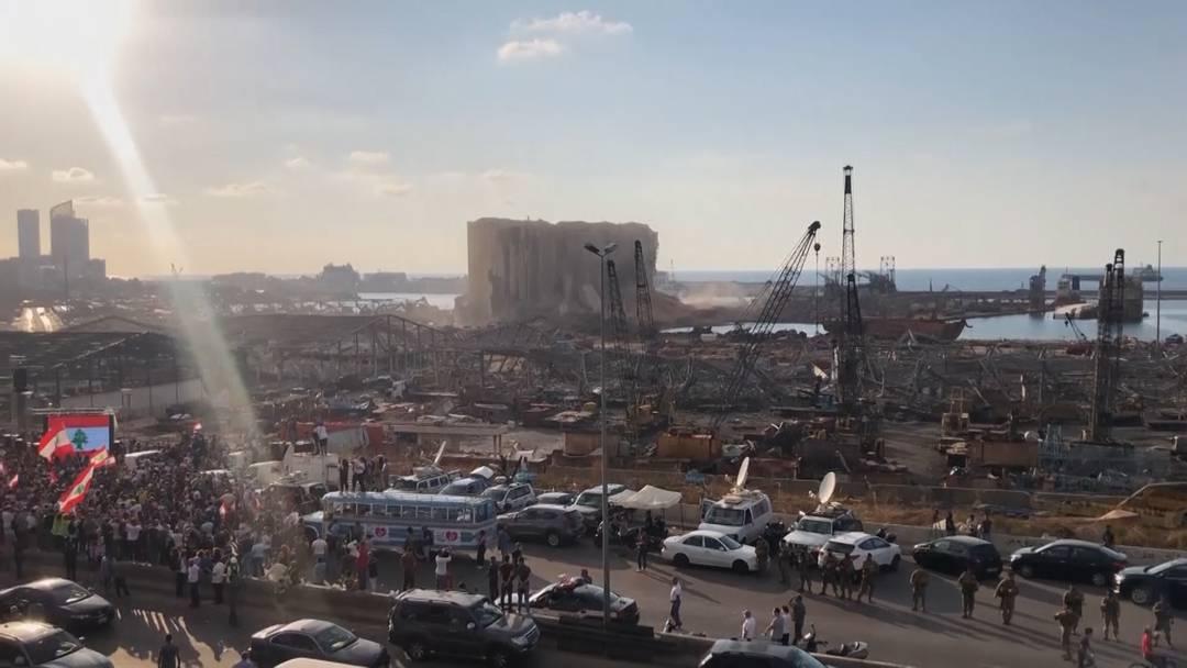 So sieht es am Hafen von Beirut eine Woche nach der Explosion aus
