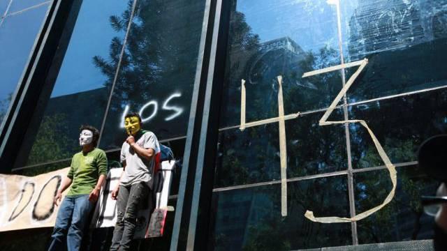 Aktion für die 43 vermissten Studenten in Mexiko-Stadt am Freitag