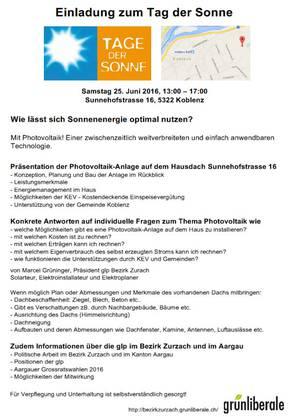 Einladung zum Tag der Sonne in Koblenz 25. Juni