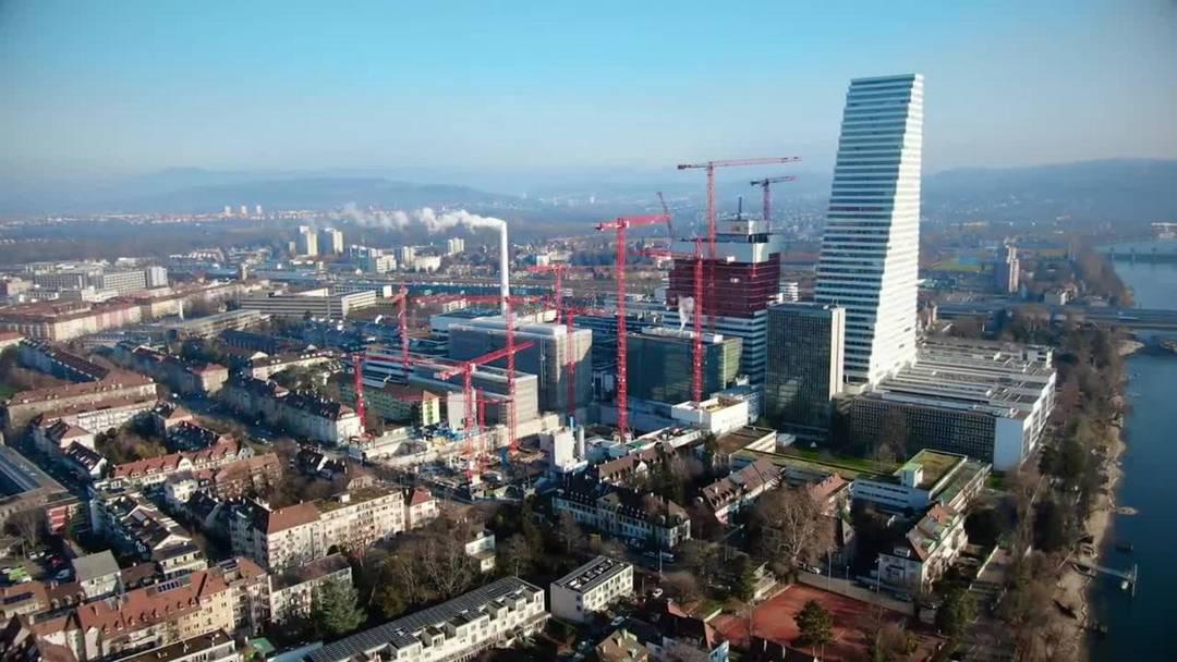 Baustellenfortschritt Januar Forschungszentrum Roche Luftaufnahmen
