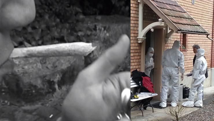Der 27-jährige Täter war ein Kiffer - rechts die Spurensicherung vor dem Haus des Opfers. (Symbolbild)