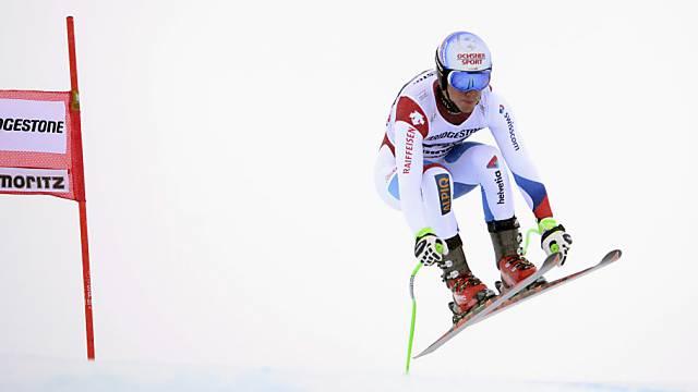 Carlo Janka im ersten Abfahrts-Training in St. Moritz