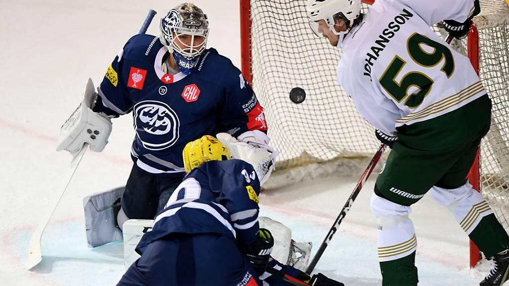 Ambris Goalie Dominik Hrachovina zeigte gegen Färjestad Karlsbad eine starke Partie