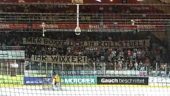 Das niveaulose Transparent beschehrte den Verantwortlichen ein zwei-jähriges Stadionverbot in der Schweiz.