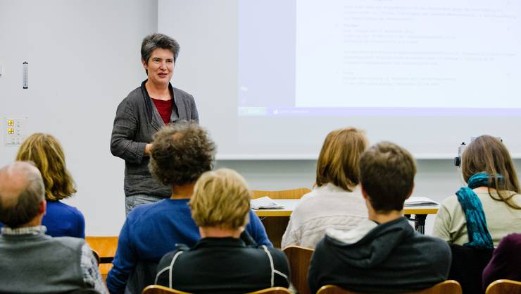 Gertrud Häseli, Präsidentin der Grünen im Aargau, am Dienstagabend an der Mitgliederversammlung im Naturama in Aarau