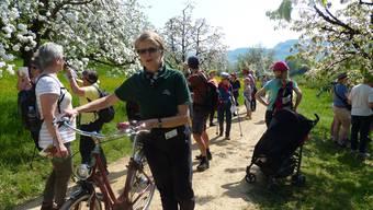 Regine Leutwyler (grünes T-Shirt) informierte die Wandergruppe über den Kirschblütenzauber und Obstgärten. Ingrid Arndt