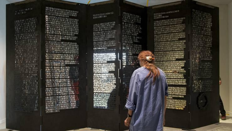 Eichin vor dem Schwesterdenkmal, die «Menschenrechte im Bundeshaus».