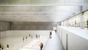 So hätte die neue Sporthalle aussehen sollen – der Grosse Rat hat dasProjekt zurückgewiesen. Hauptargument: zu teuer. Visualisierung/ZVG