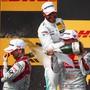 Von links nach rechts: Hockenheim-Sieger René Rast aus Deutschland, der britische DTM-Gesamtsieger Gary Paffett und der Berner Nico Müller