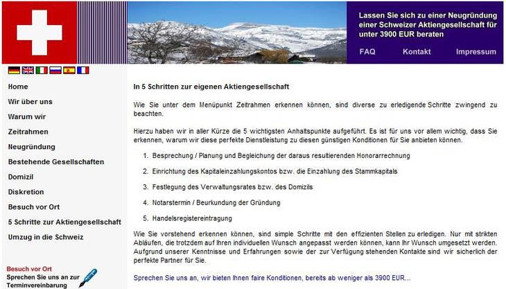 Mit der Intma beriet Alexander Herrs Umfeld Kunden «zu einer Neugründung einer Schweizer Aktiengesellschaft für unter 3900 Euro».