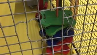 Dieses Gitter haben die Einbrecher in der Turnhalle beschädigt. zvg