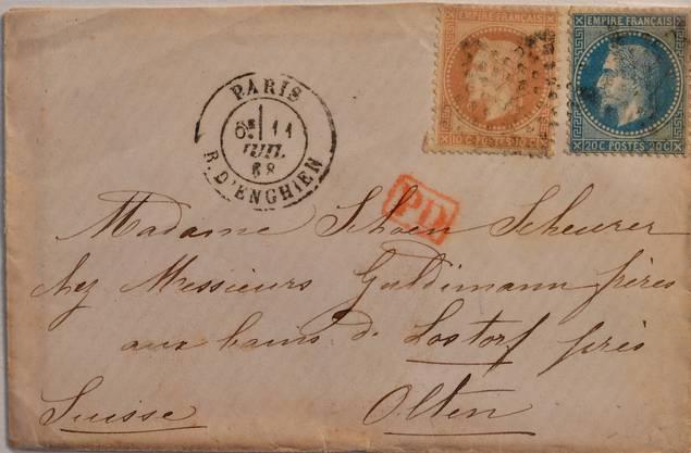 Ein besonderes Exemplar: Ein Brief aus Paris, adressiert an Madame Scheurer, wohnhaft bei den Gebrüdern Guldimann in Lostorf bei Olten.