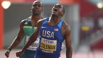 Christian Coleman freut sich über seinen ersten WM-Titel