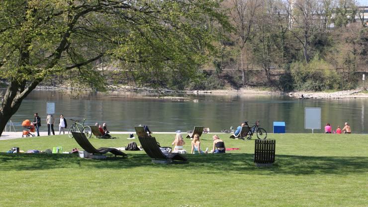 Stadtpark Ost in Rheinfelden: Trotz schönem Wetter ist relativ wenig los.