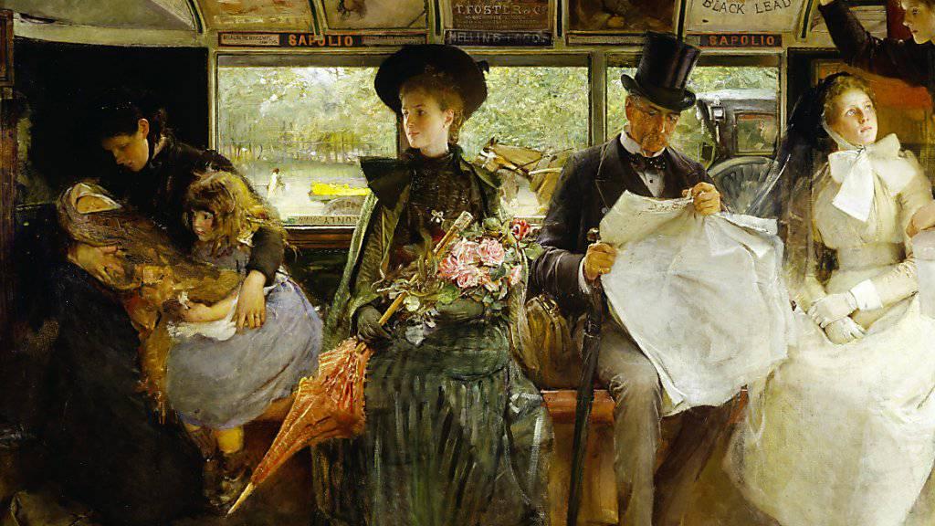 """Das Gemälde """"The Bayswater Omnibus"""" (1895) von George William Joy ist Teil der Ausstellung """"Englische Malerei"""" in der Fondation de l'Hermitage in Lausanne. Sie dauert vom 1. Februar bis 2. Juni 2019."""