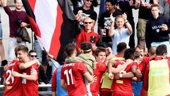 Feiert der FC Baden seine Tore bei Risikospielen bald ohne seine Fans? Awa/Archiv