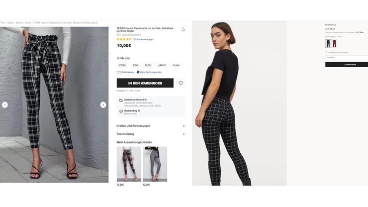 Eine Stoffhose kostet bei Shein etwa 10 Franken. Bei H&M kostet eine ähnliche Hose mit 25 Franken über das Doppelte.