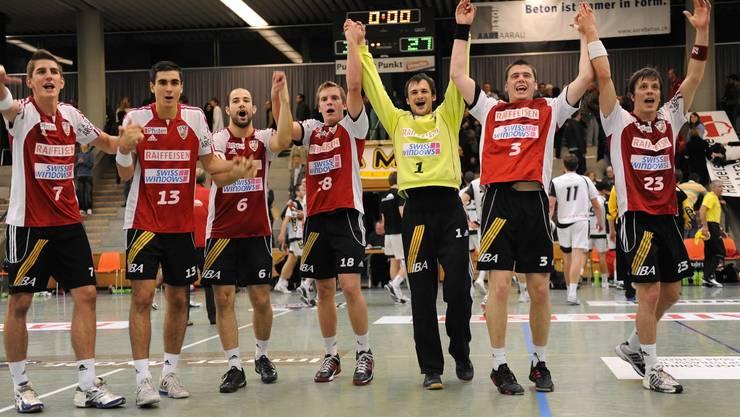 Die Spieler des Handballclubs HSC Suhr Aarau sind eine feste Grösse in der NLA. Foto: Alexander Wagner.