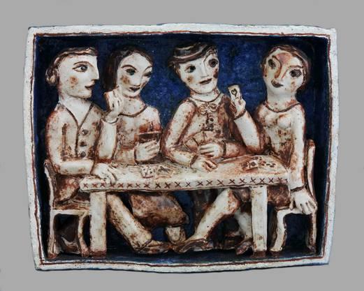 Typische Keramikarbeit von Geiger: Eine jassende Männerrunde.