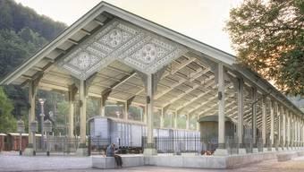 So soll die einstige Basler Bahnhofshalle nach dem Wiederaufbau in Bauma ZH aussehen.