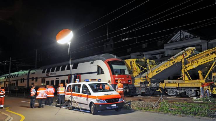 Die S-Bahn kollidierte  mit einem Bauzug