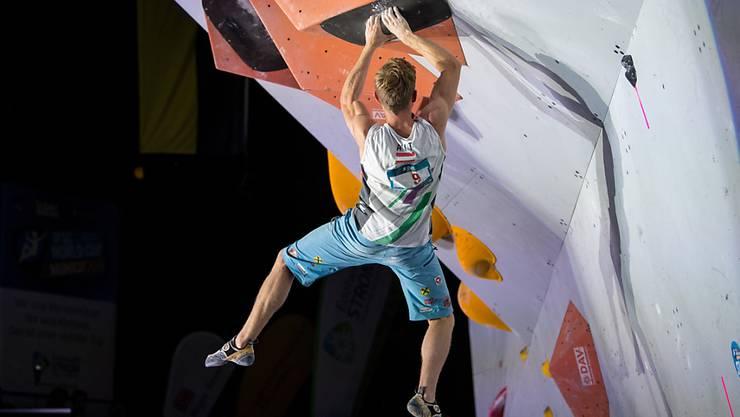 Ein Teilnehmer der diesjährigen Sportkletter-Weltmeisterschaften. (Archivbild)