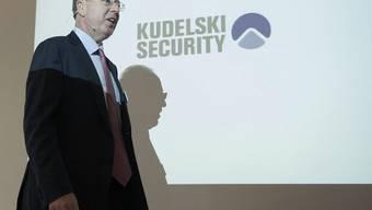 Kudelski-Chef André Kudelski spricht in Cheseaux in der Nähe von Lausanne
