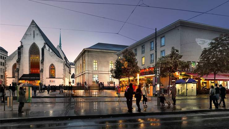 Kommt näher an die Barfüsserkirche: Der neue Erweiterungsbau des Grossen Konzertsaals des Stadtcasinos im alten Stil von 1876.