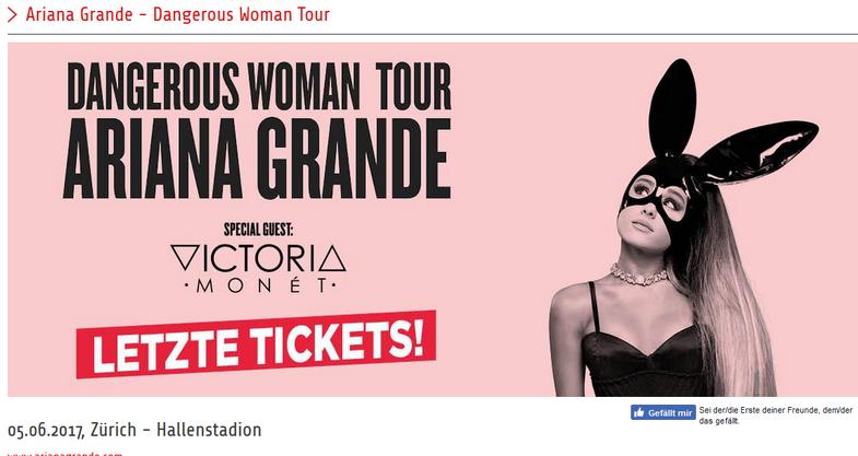 Ariana Grande - Werbung für den Schweizer Auftritt in Zürich.